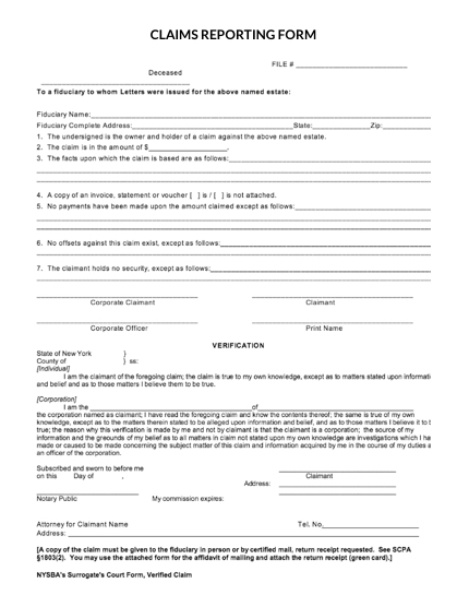 Image of Claims Reporting Form template