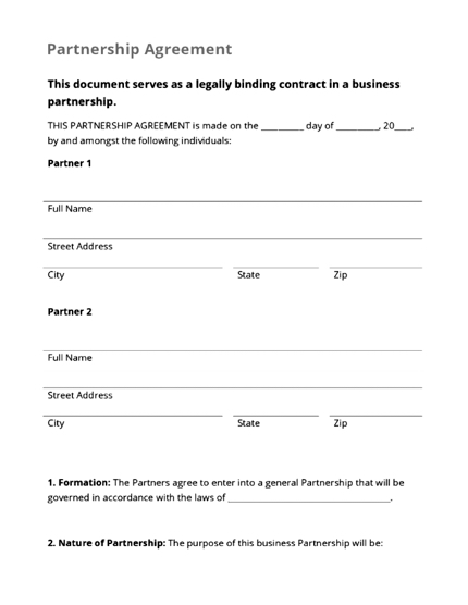 Image of Partnership Agreement template