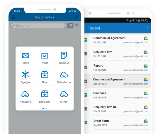 collecting signatures from Android or iOS mobile device